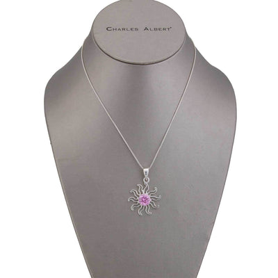 sterling-silver-pink-cz-sun-pendant-1 - 3 - Charles Albert Inc