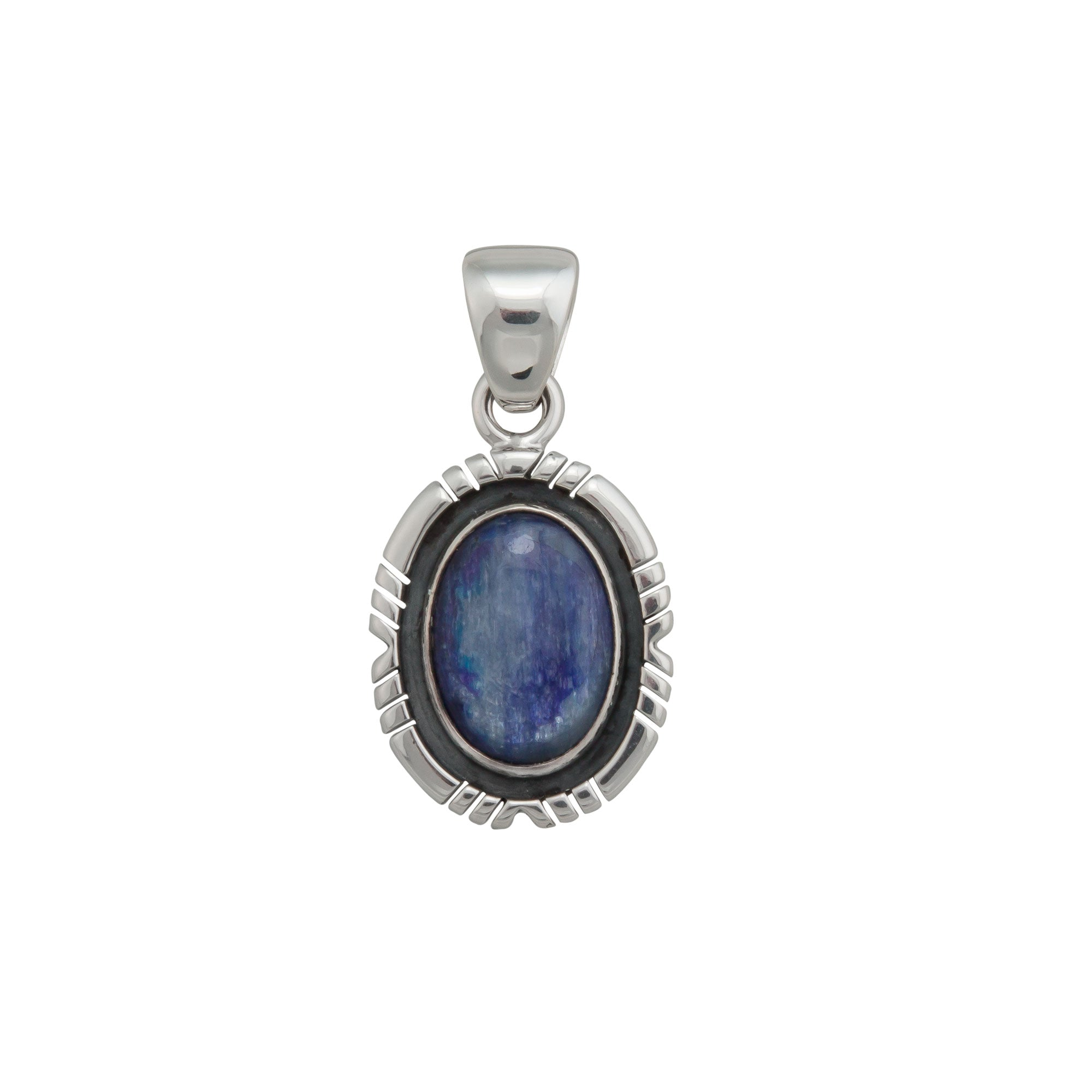 Sterling Silver Kyanite Oval Pendant with Detailed Edge | Charles Albert Jewelry