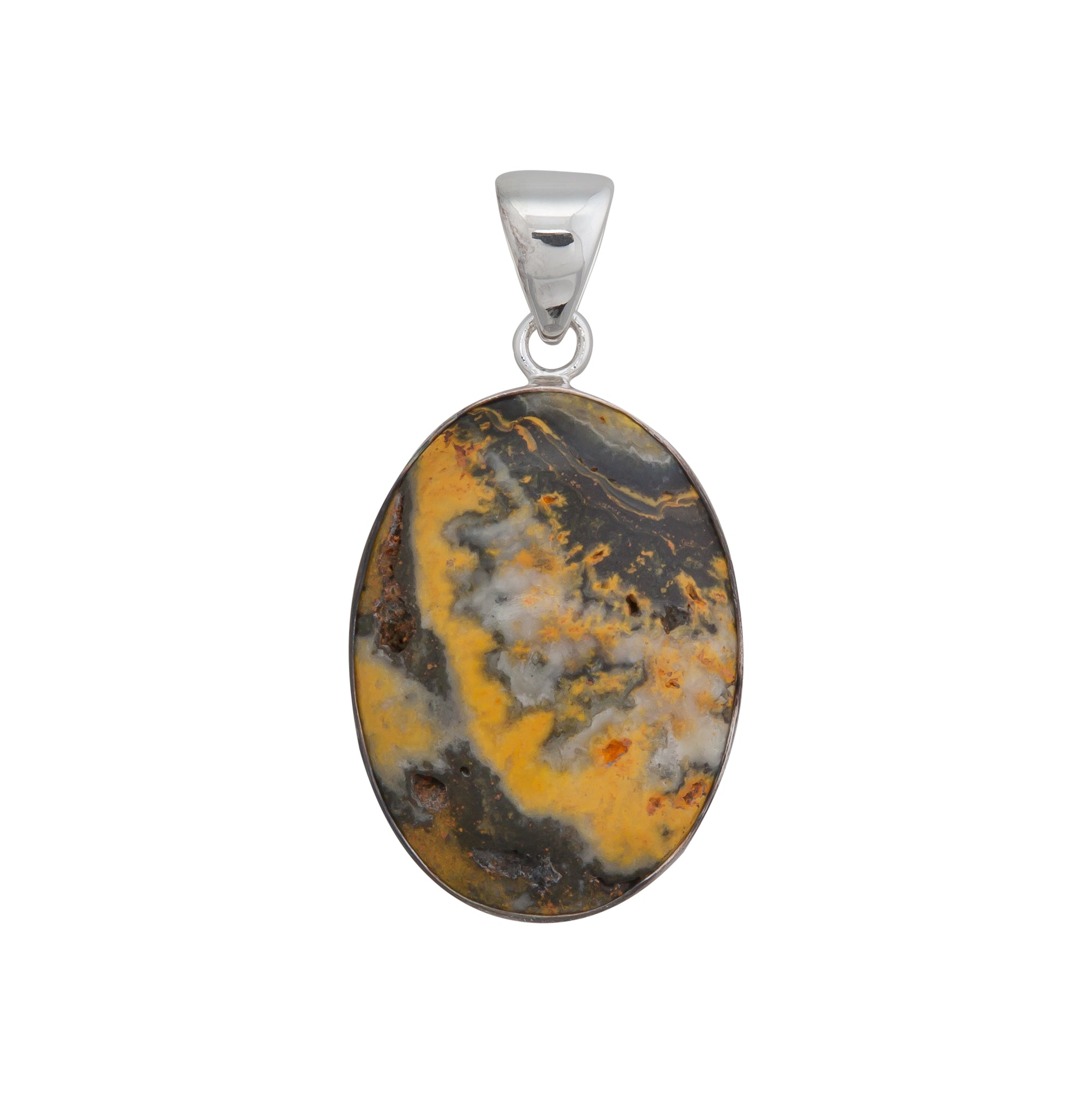 Sterling Silver Oval Bumble Bee Jasper Pendant
