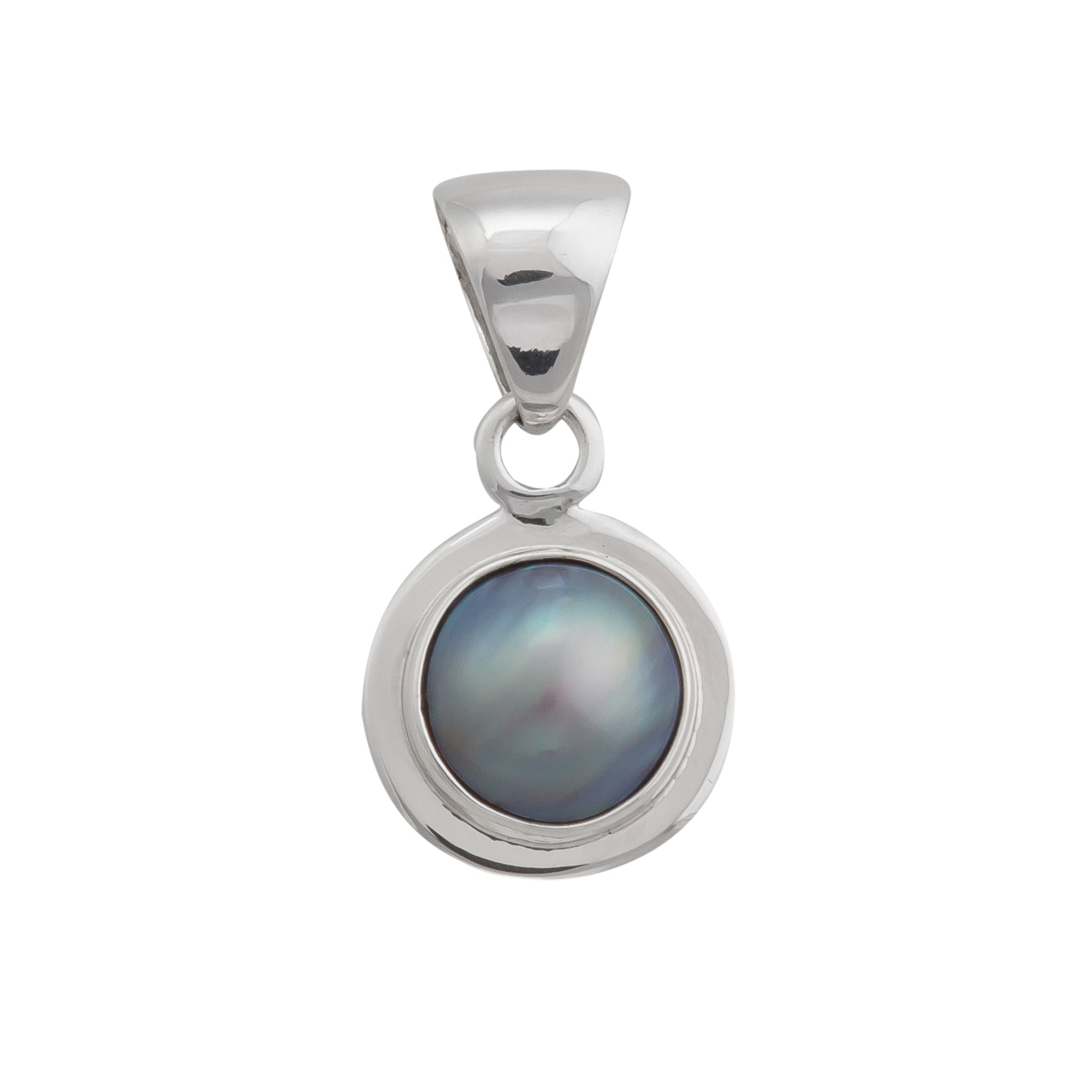 Sterling Silver Gray Pearl Pendant with Detailed Edge