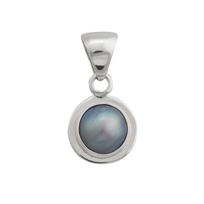 Sterling-Silver-Gray-Pearl-Pendant-with-Detailed-Edge-1-Charles Albert Inc