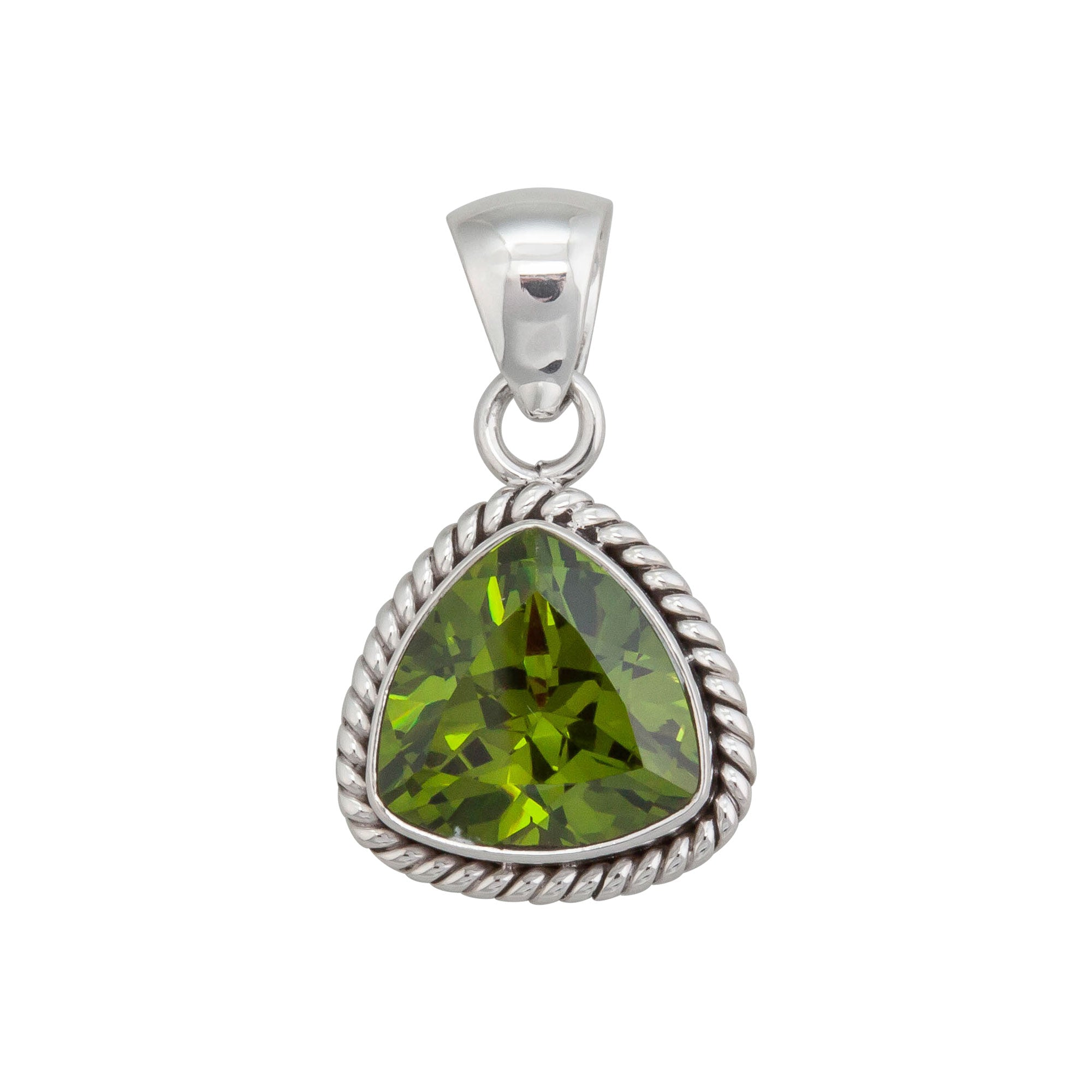 Sterling Silver Synthetic Peridot Pendant with Rope Detailed Edge | Charles Albert Jewelry