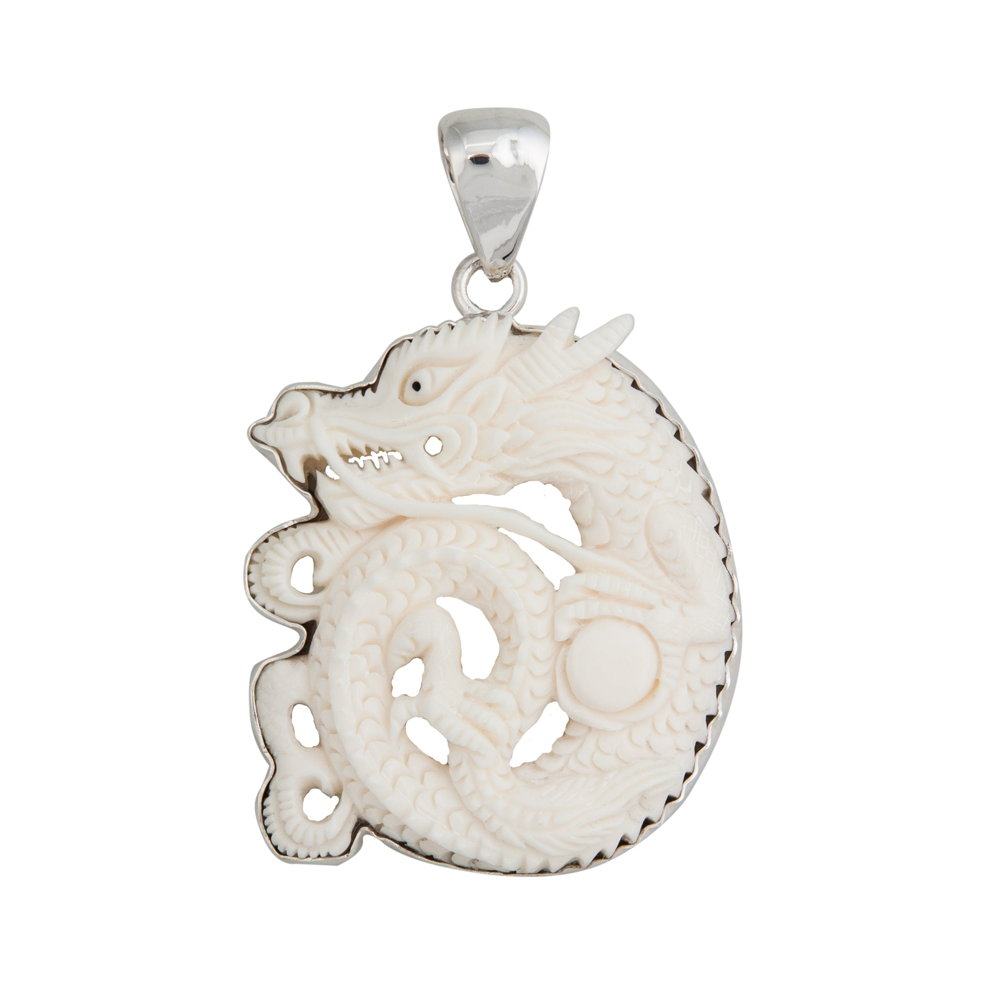 Sterling Silver Dragon Curled Bone Pendant
