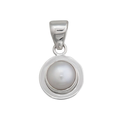 Sterling Silver Pearl Pendant with Detailed Edge