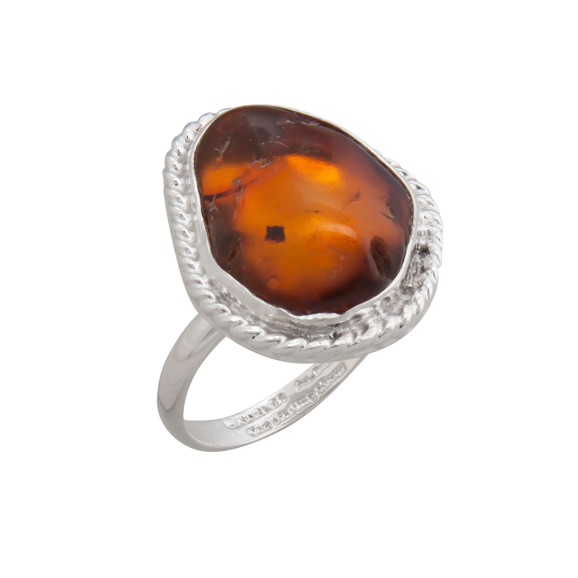 Sterling Silver Amber Adjustable Ring with Detailed Rope Edge | Charles Albert Jewelry