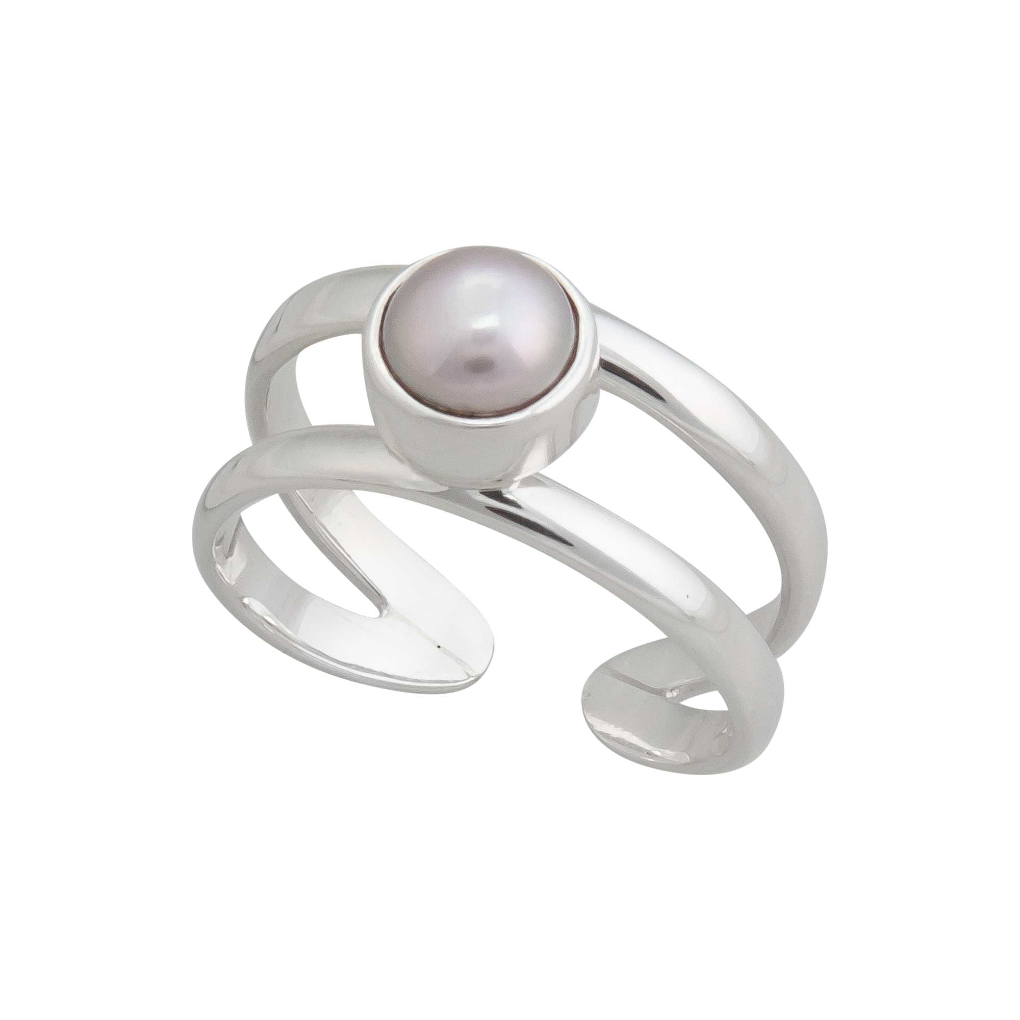 Sterling Silver Pearl Double Band Adjustable Ring | Charles Albert Jewelry