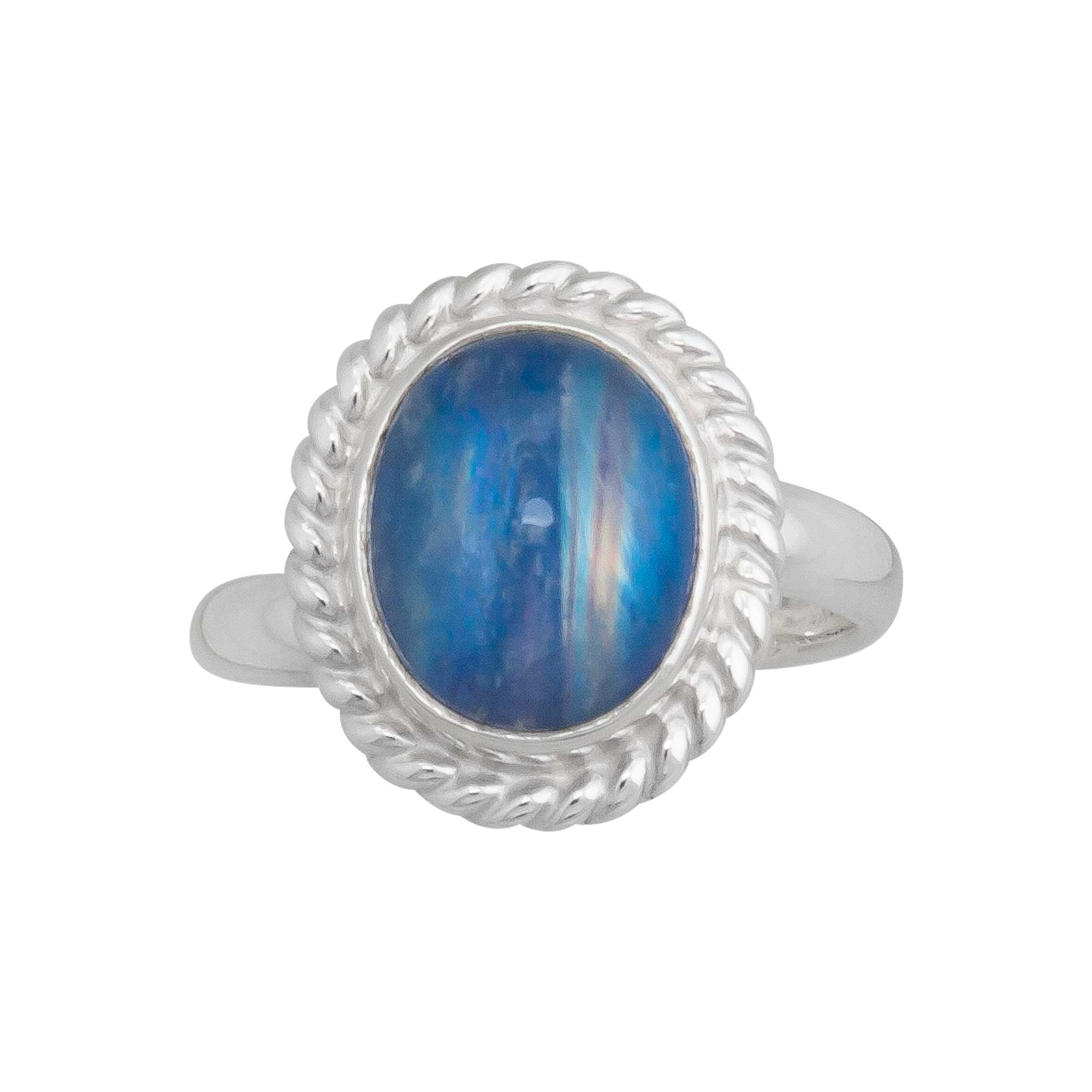 Sterling Silver Blue Rainbow Moonstone Adjustable Ring with Rope Detailed Edge | Charles Albert Jewelry