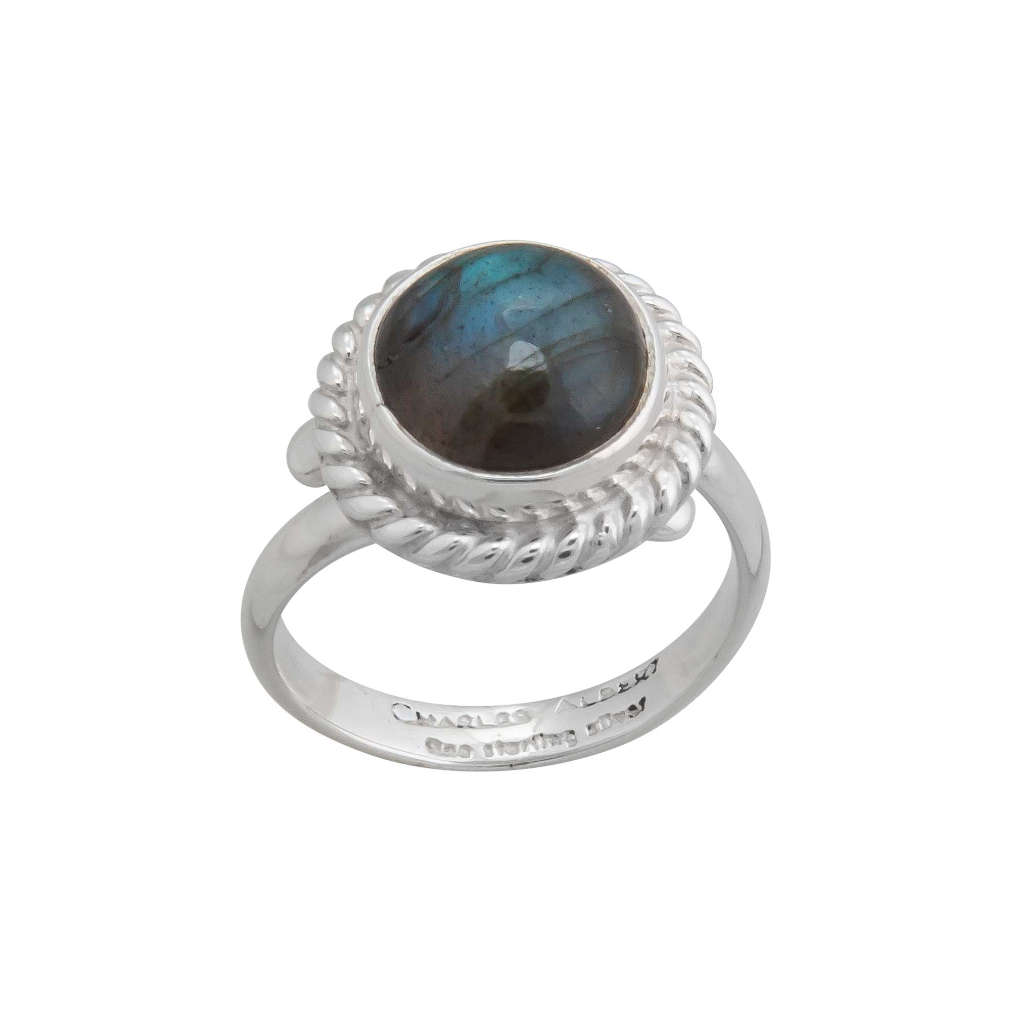 Sterling Silver Labradorite Ring with Detailed Rope Edge | Charles Albert Jewelry
