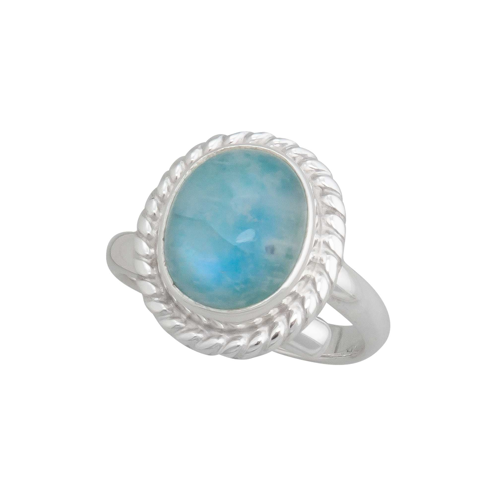 Sterling Silver Baby Blue Rainbow Moonstone Adjustable Ring with Detailed Rope Edge | Charles Albert Jewelry