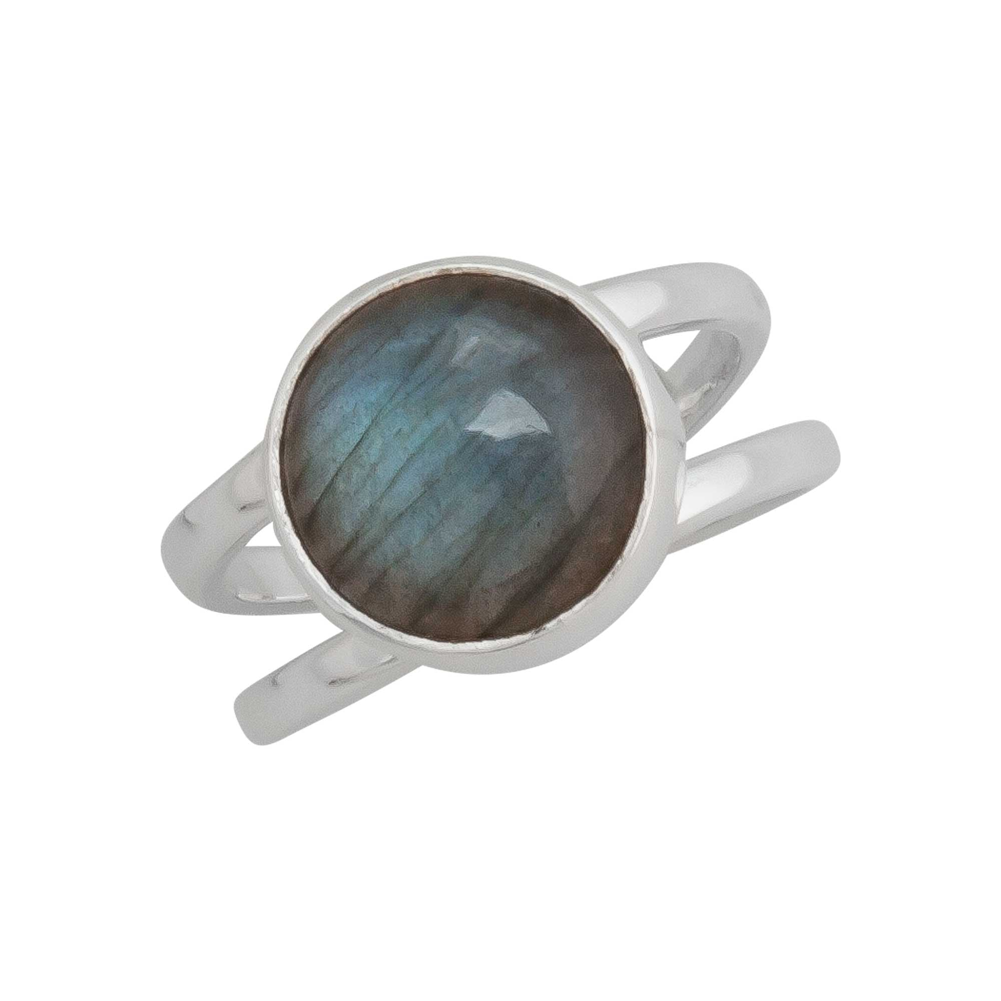 Sterling Silver Labradorite Double Band Adjustable Ring | Charles Albert Jewelry
