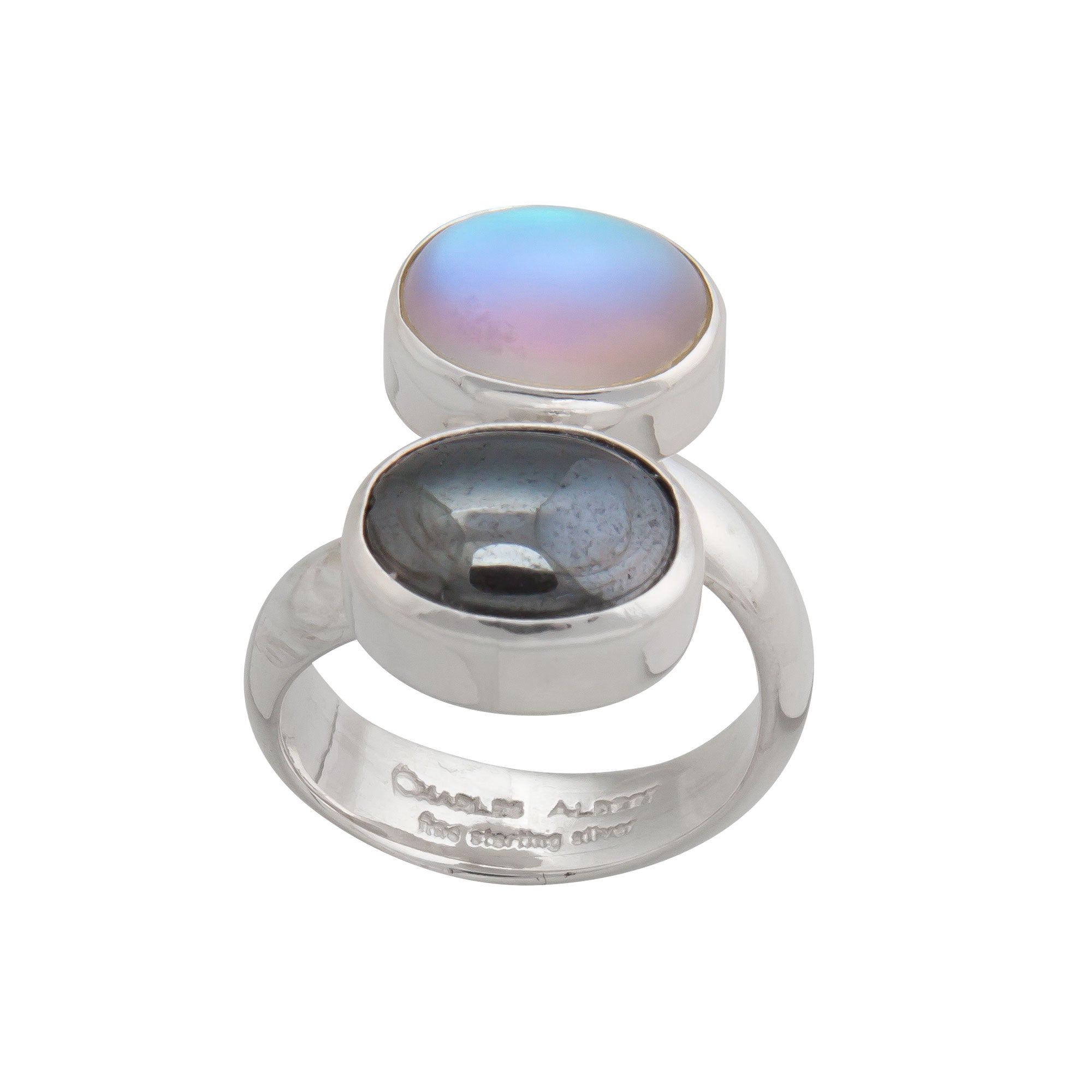 Sterling Silver Hematite and Luminite Bypass Adjustable Ring | Charles Albert Jewelry