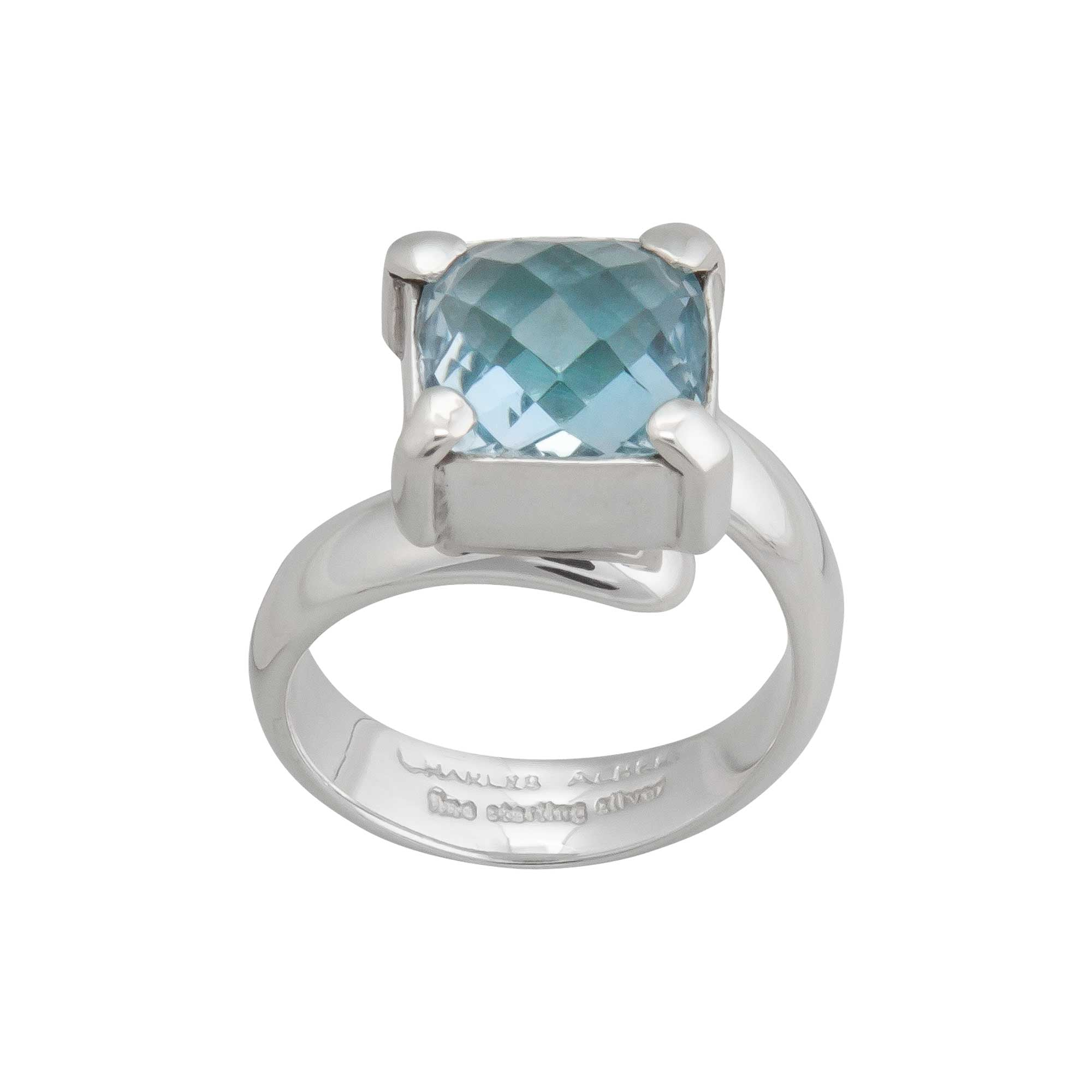 Sterling Silver Blue Topaz Adjustable Bezel and Prong set Ring | Charles Albert Jewelry