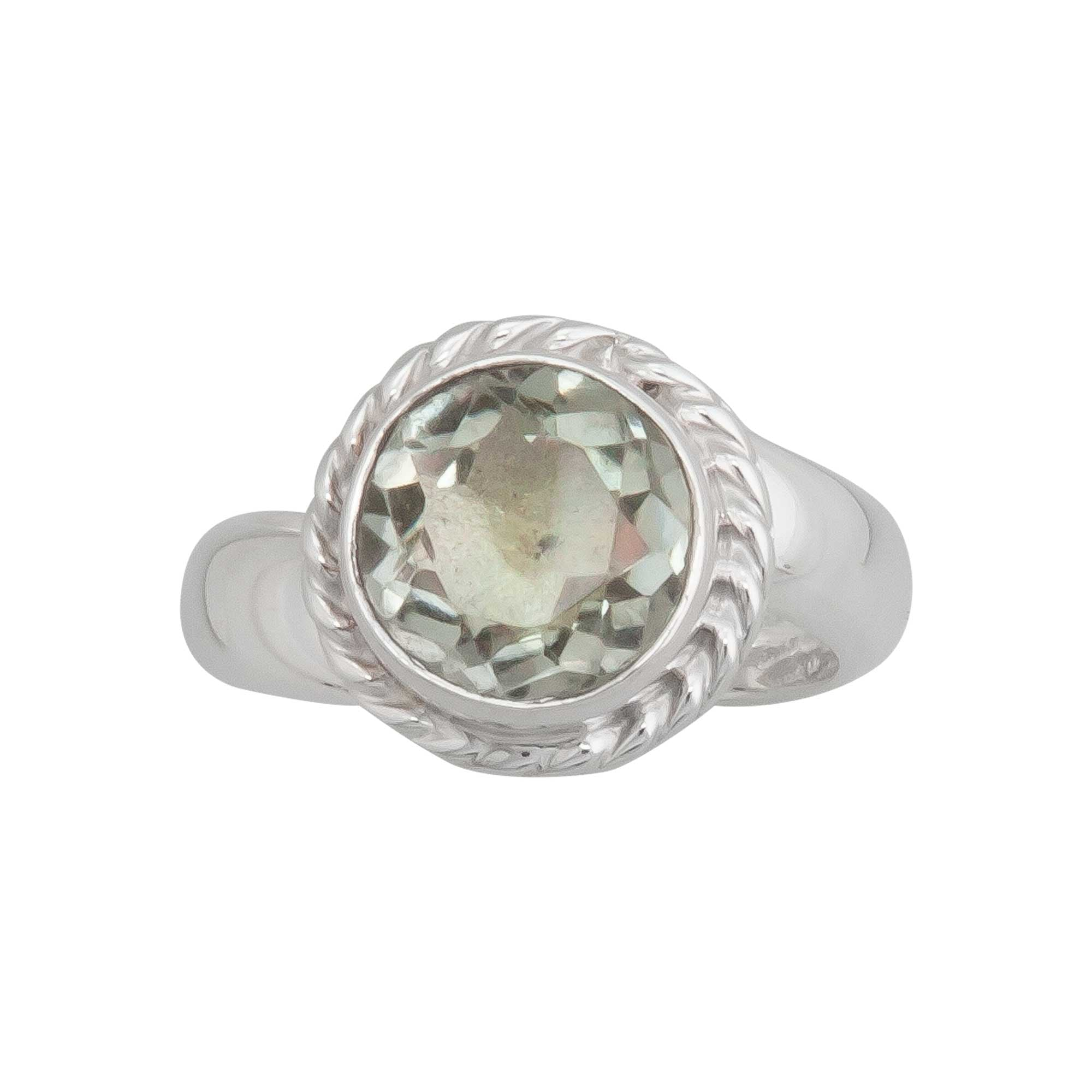 Sterling Silver Green Amethyst Adjustable Ring with Detailed Rope Edge | Charles Albert Jewelry