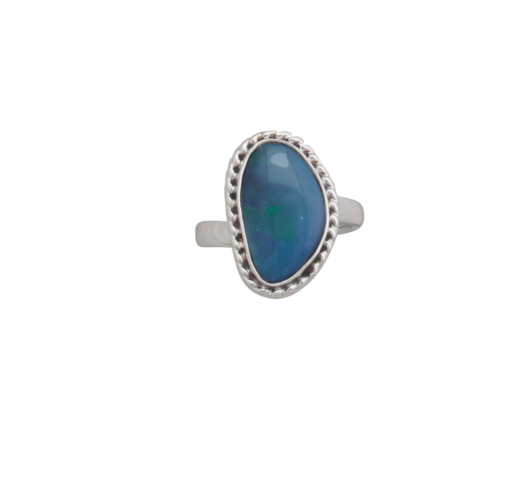 Sterling Silver Australian Blue Opal Adjustable Ring with Detailed Edge | Charles Albert Jewelry