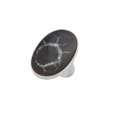 Sterling Silver Septarian Nodule Adjustable Ring