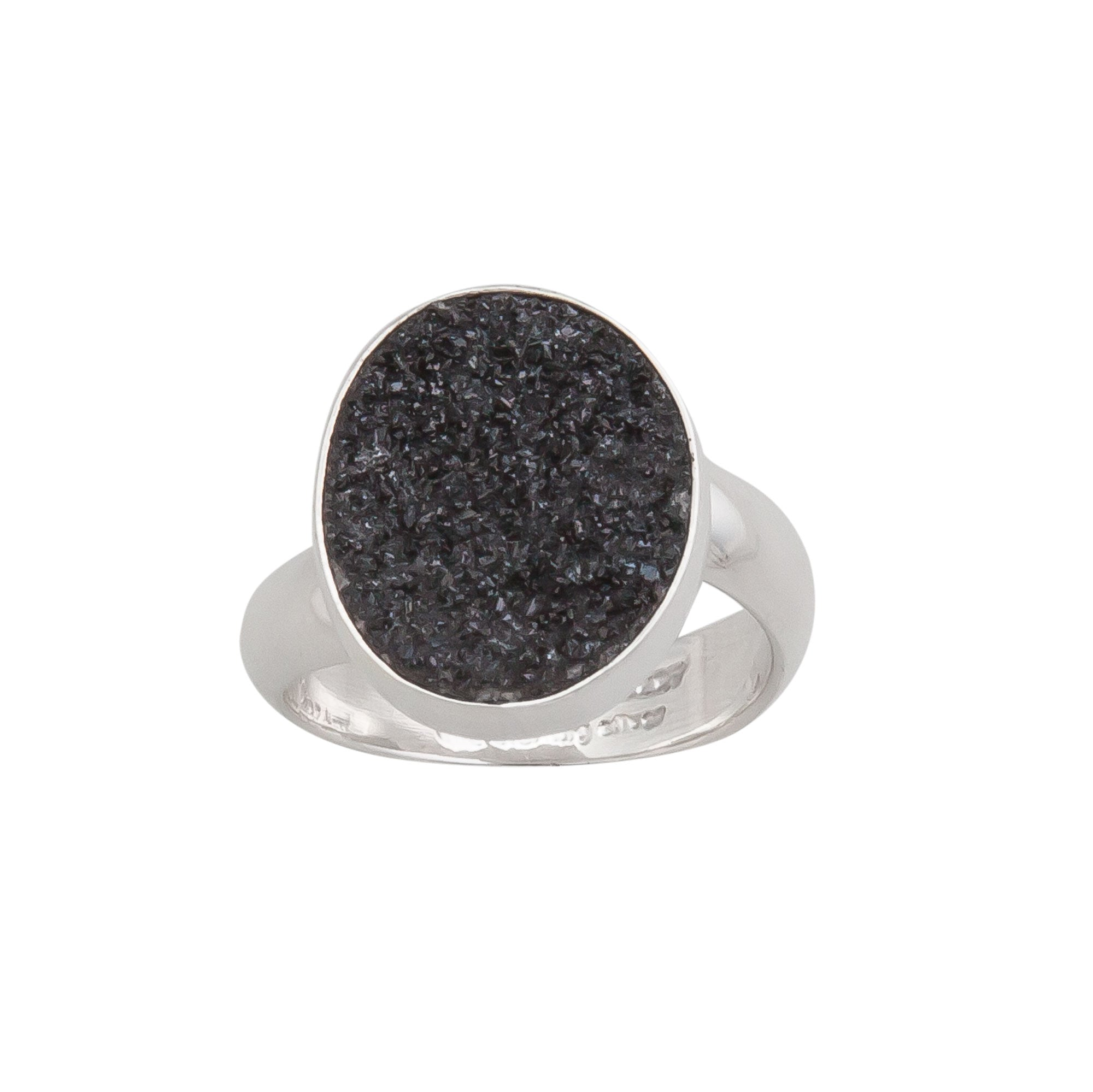 Sterling Silver Oval Black Druse Adjustable Ring | Charles Albert Jewelry
