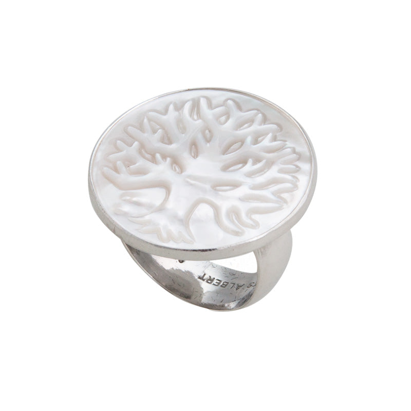 Sterling Silver Mother of Pearl Tree of Life Adjustable Ring | Charles Albert Jewelry