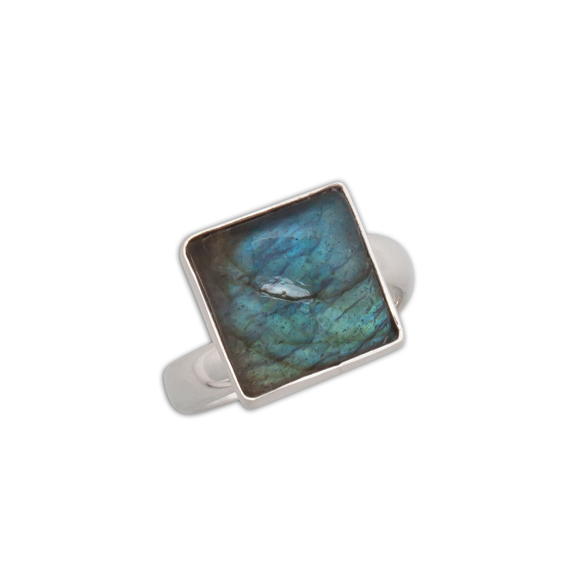 Sterling-Silver-Labradorite-Mini-Square-Adjustable-Ring-1-Charles Albert Inc
