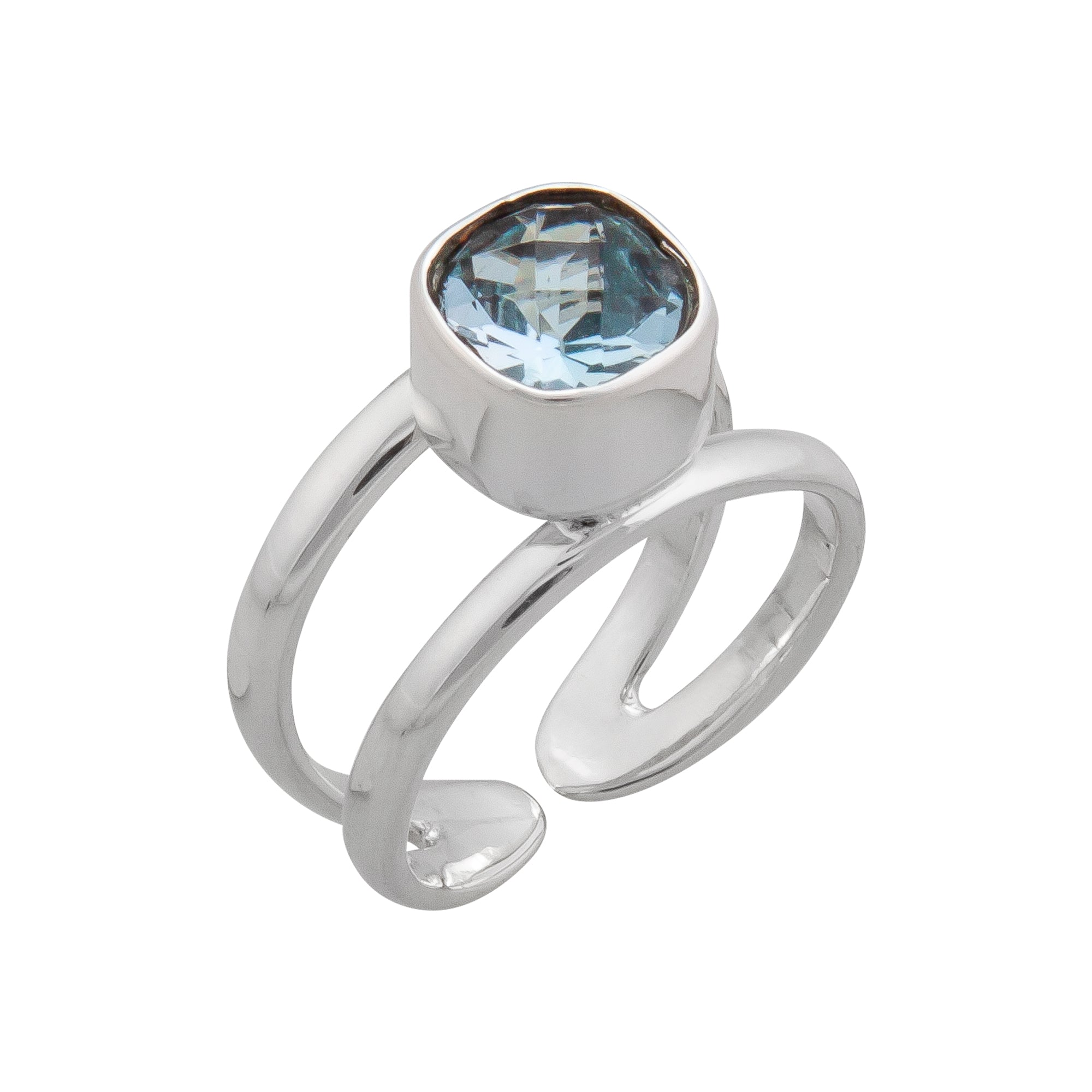 Sterling Silver Blue Topaz Cuff Ring | Charles Albert Jewelry