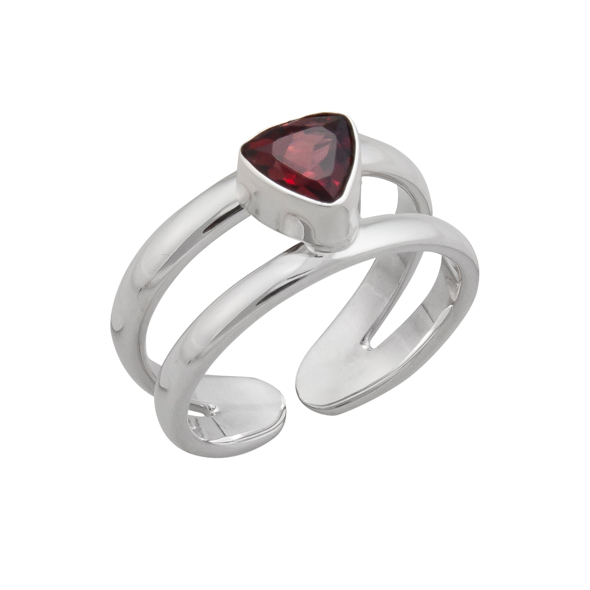 Sterling Silver Garnet Cuff Ring | Charles Albert Jewelry
