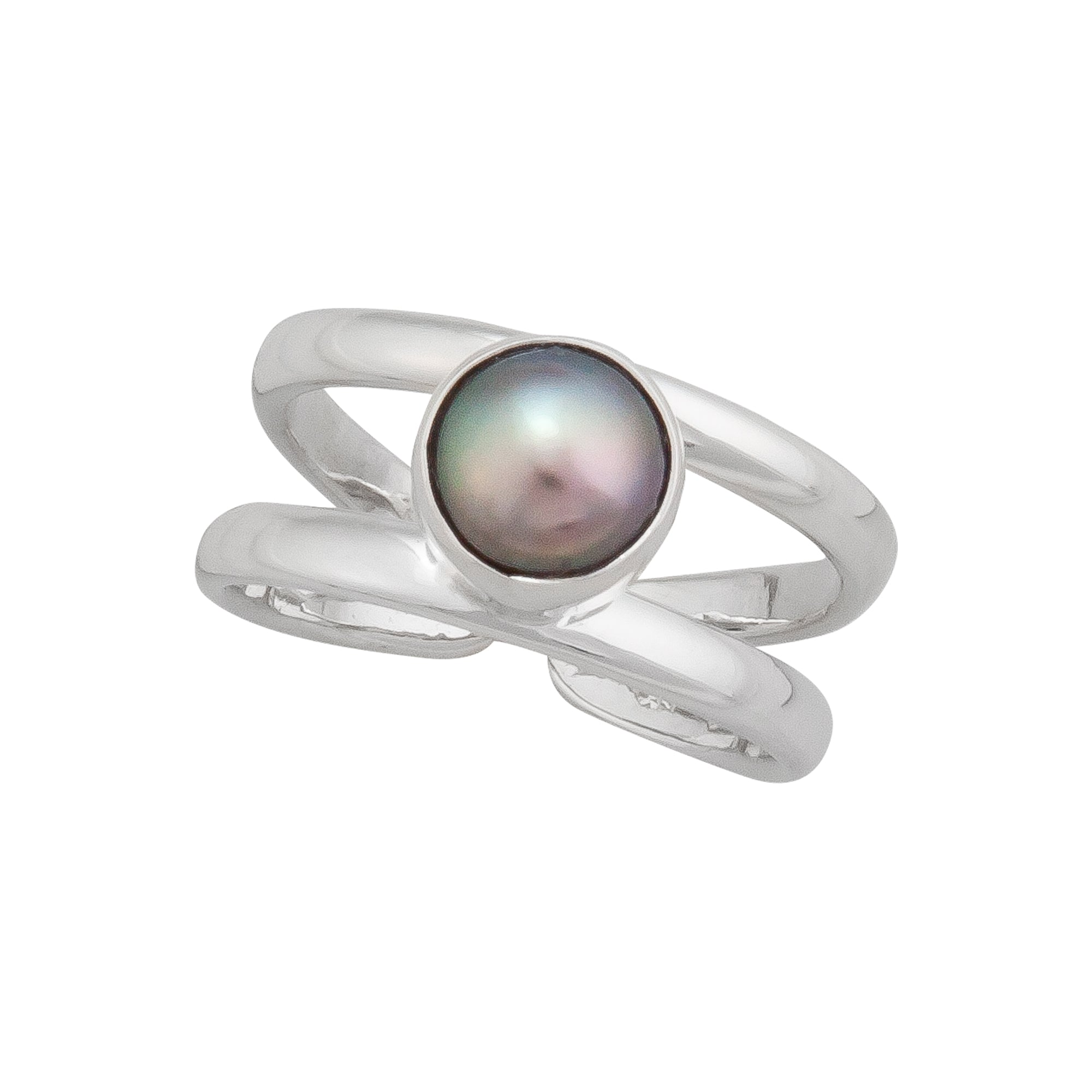 Sterling Silver Gray Pearl Cuff Ring | Charles Albert Jewelry