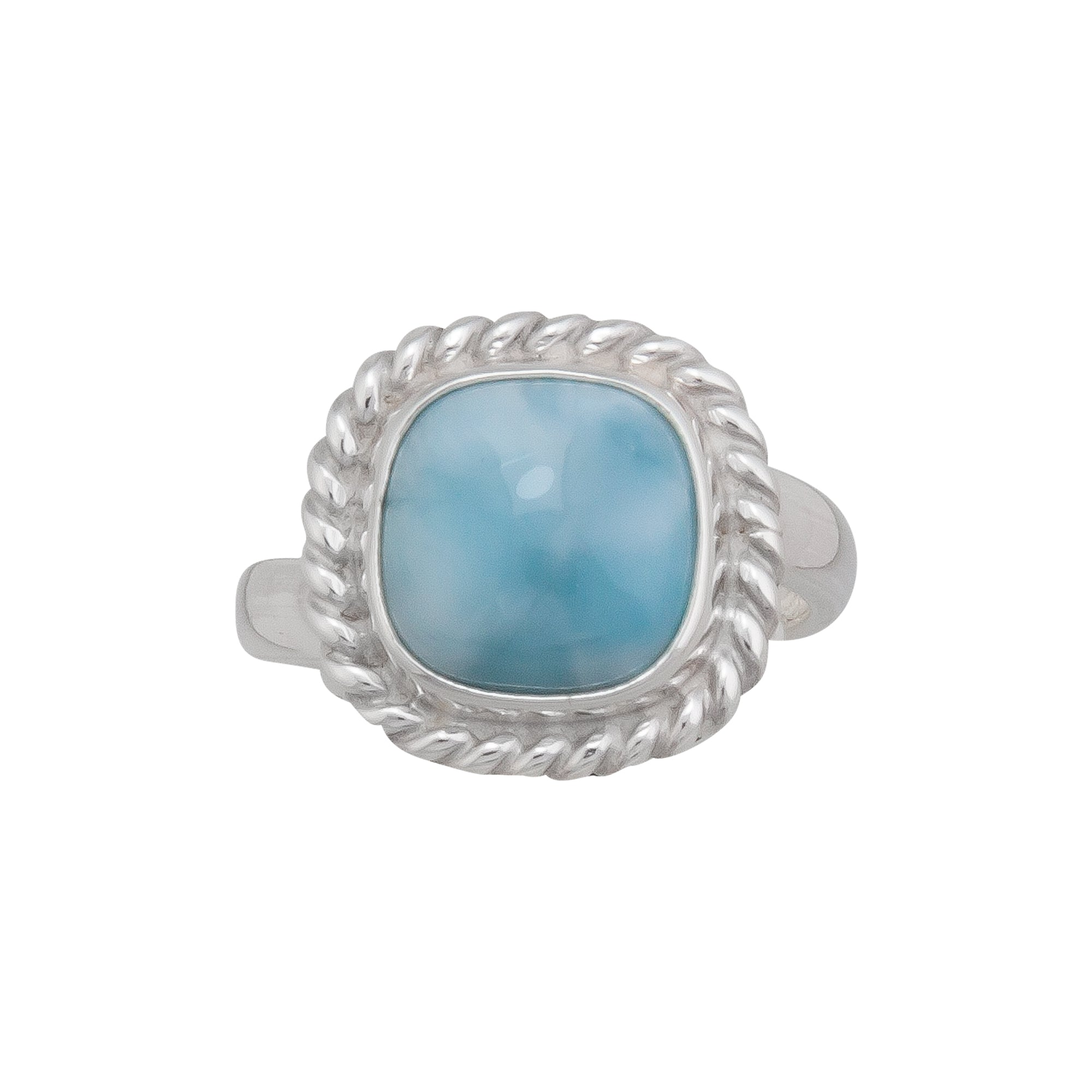 Sterling Silver Larimar Ring with Rope Detail | Charles Albert Jewelry