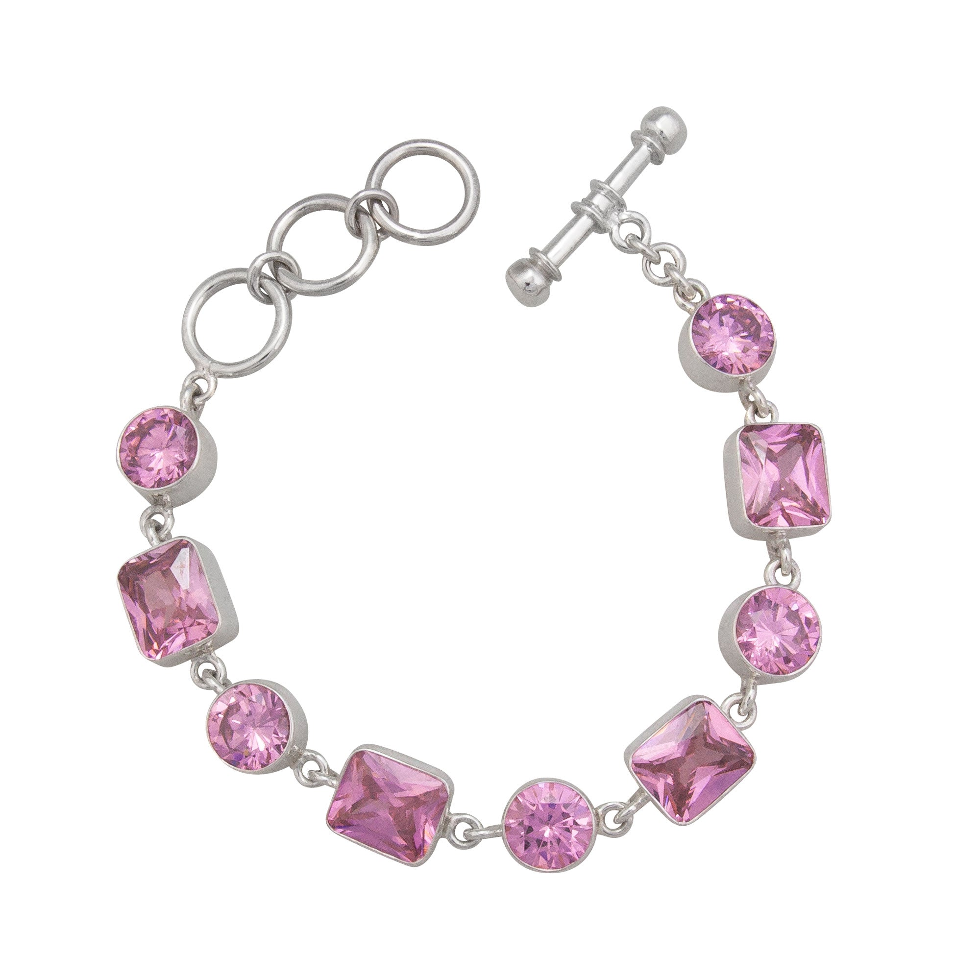 Sterling Silver Pink CZ Bracelet | Charles Albert Jewelry