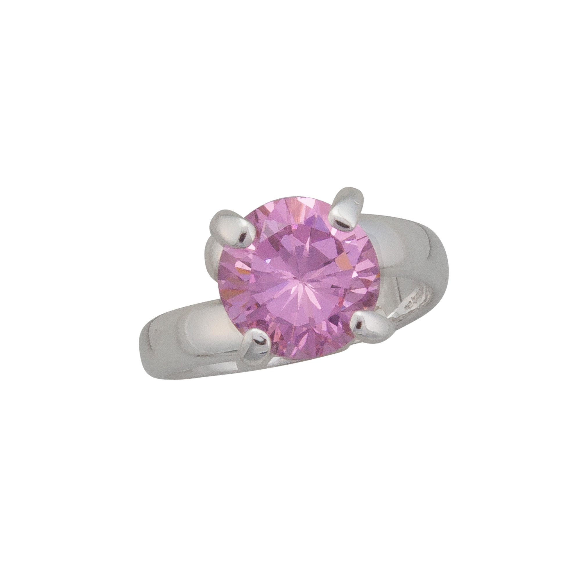 Sterling Silver Round Pink CZ Adjustable Ring | Charles Albert Jewelry
