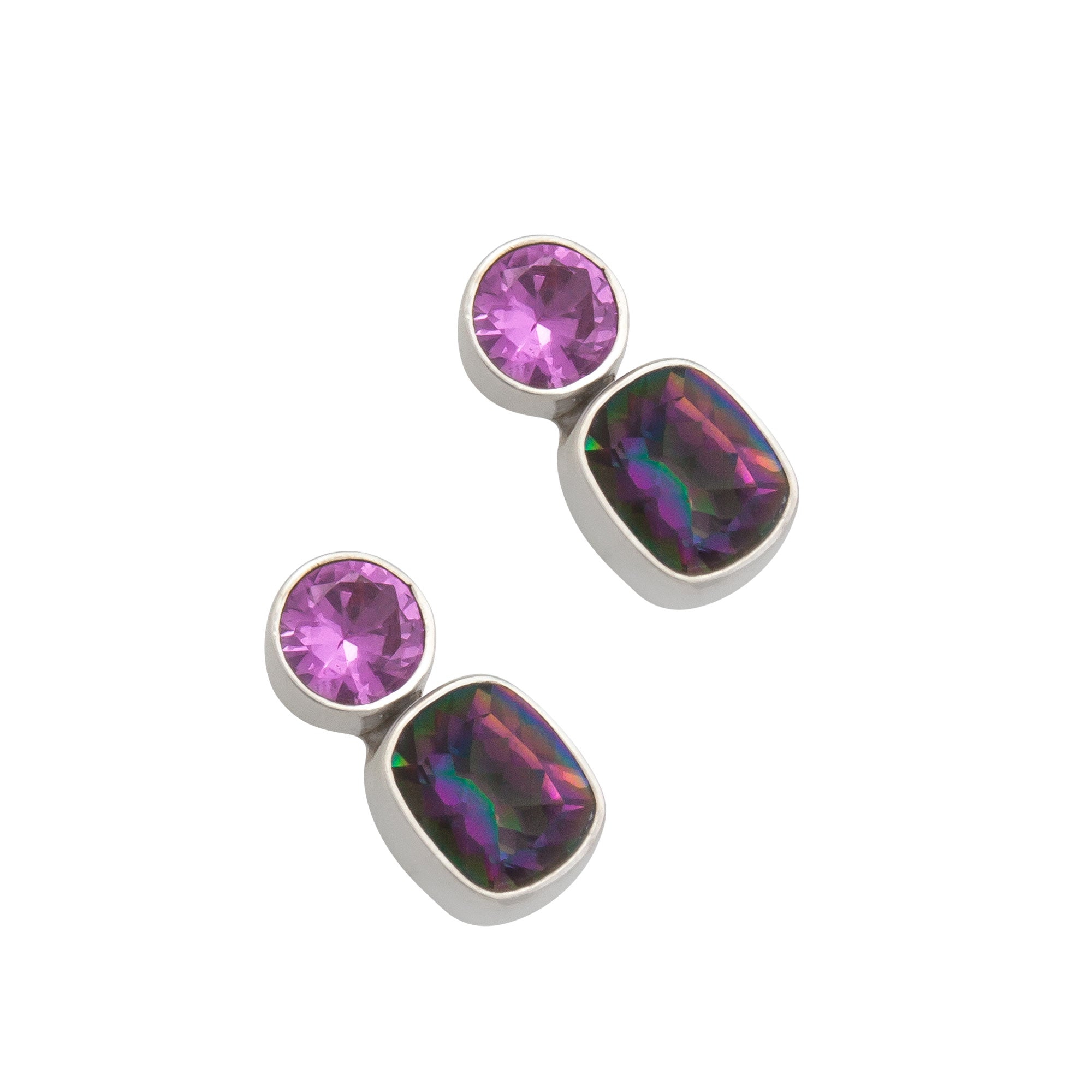 Sterling Silver Lab Pink Sapphire and Rainbow Mystic Quartz Post Earrings | Charles Albert Jewelry