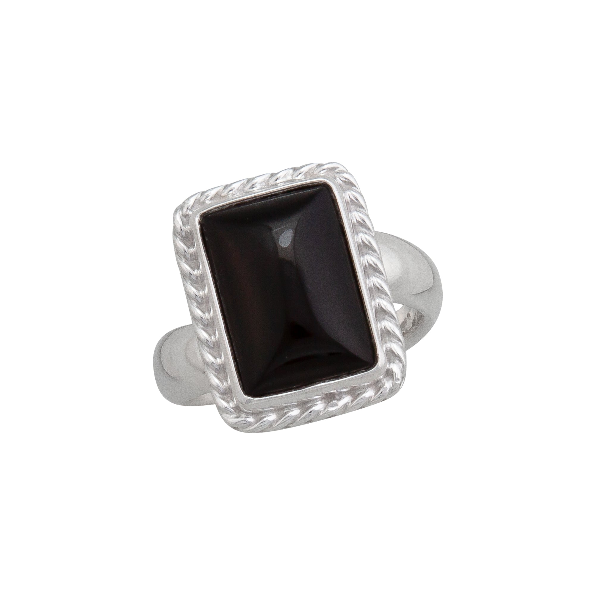 Sterling Silver Onyx Ring with Rope Detail | Charles Albert Jewelry