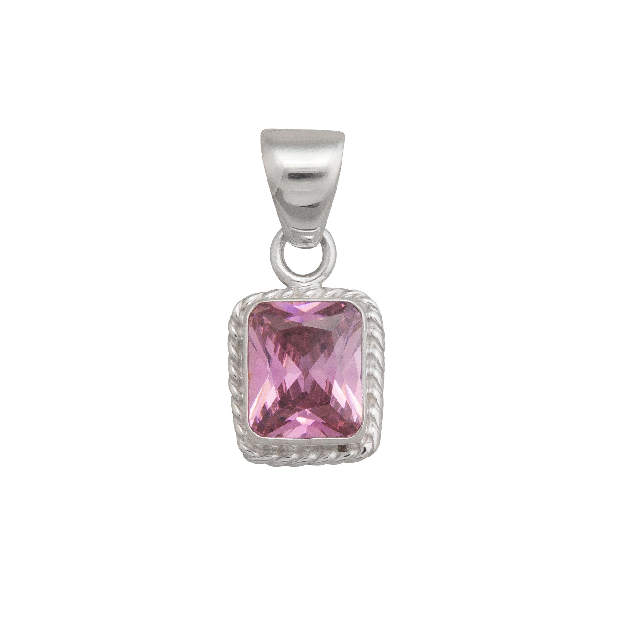 Sterling Silver Pink CZ Pendant with Rope Detail | Charles Albert Jewelry