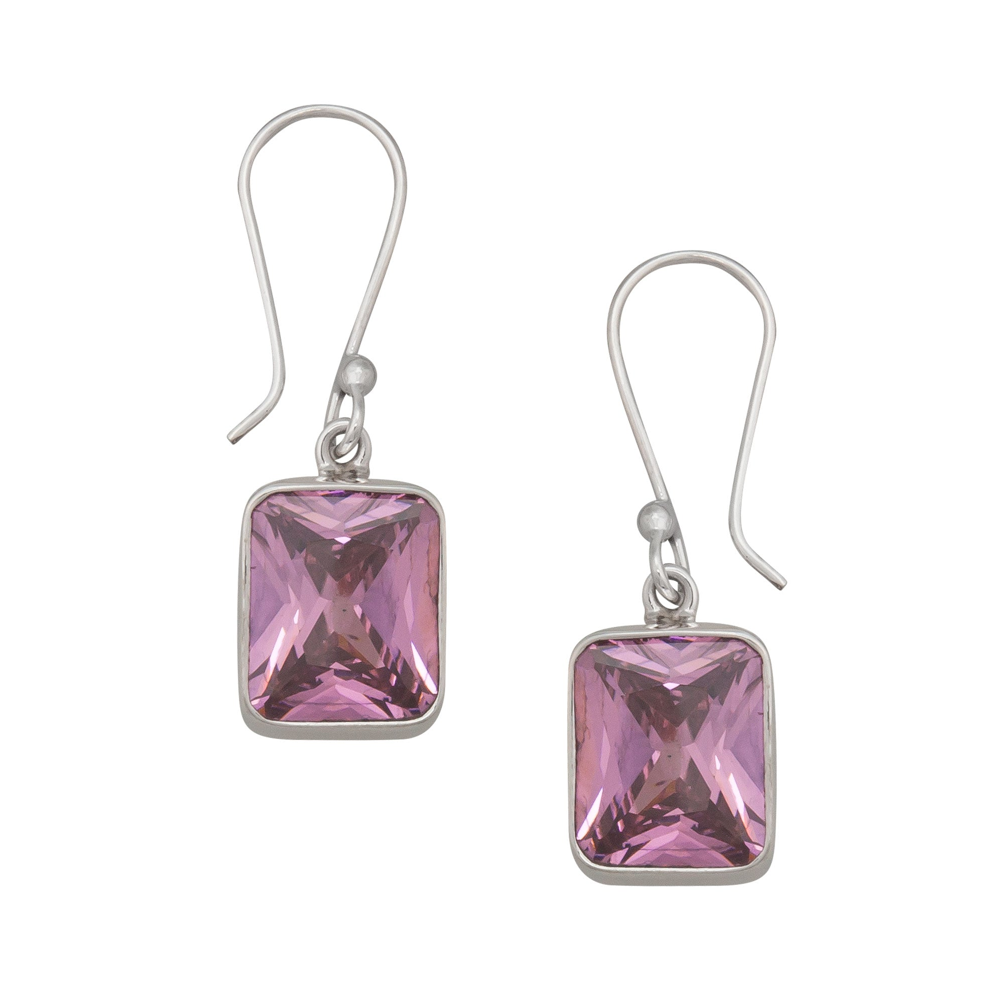 Sterling Silver Pink CZ Rectangle Earring | Charles Albert Jewelry