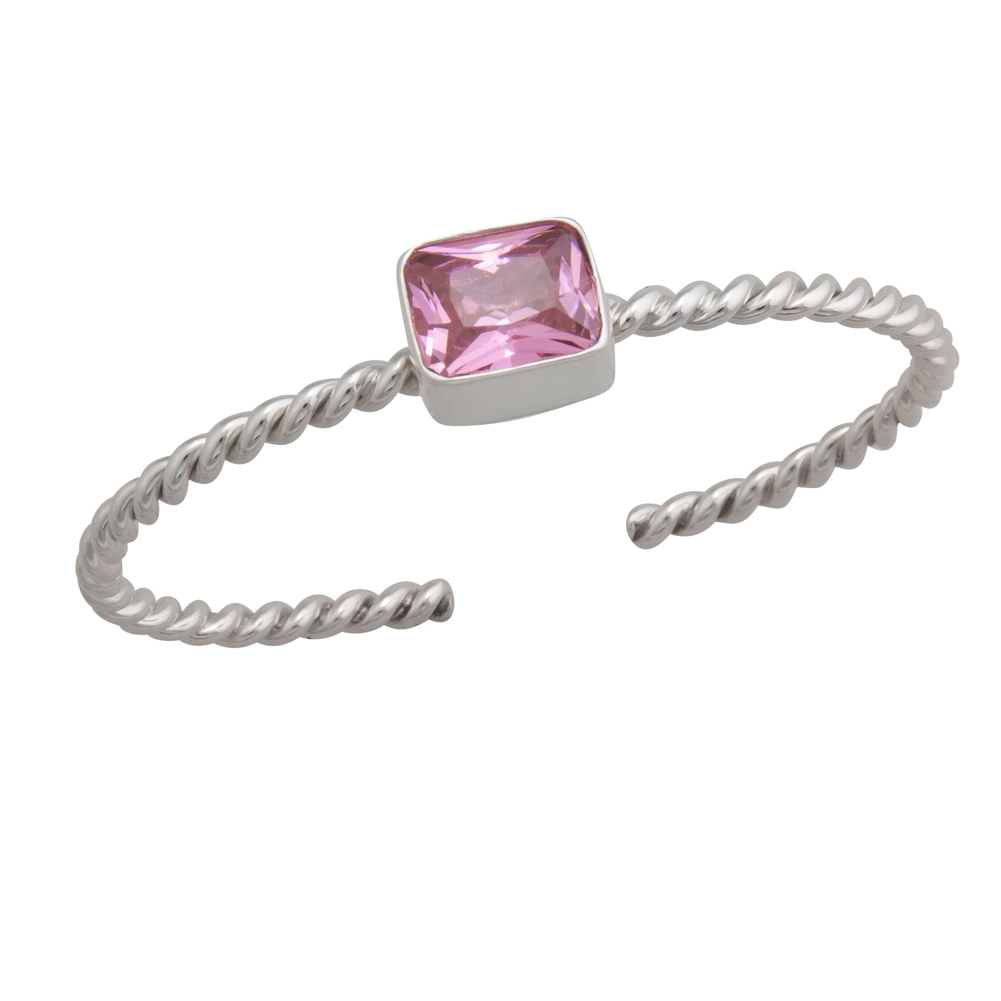 Sterling Silver Pink CZ Twisted Cuff | Charles Albert Jewelry