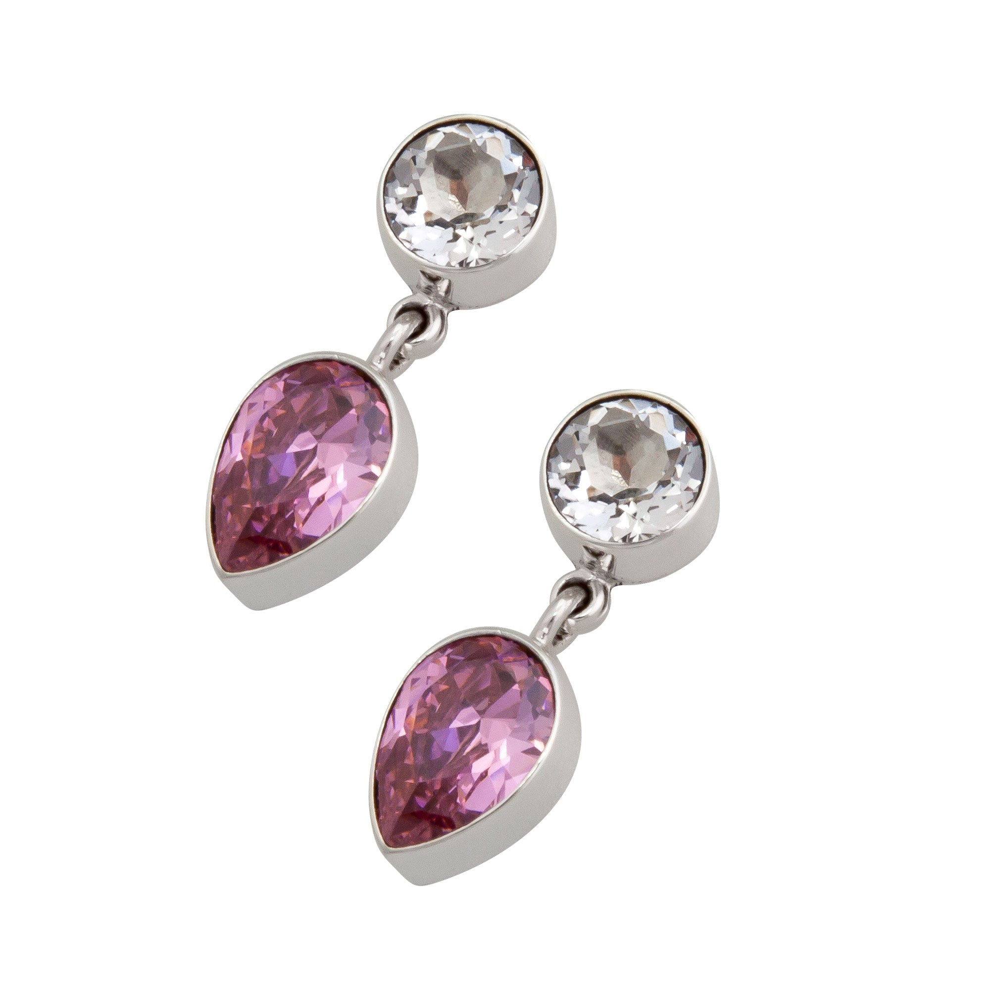 Sterling Silver Quartz and Pink CZ Post Earring | Charles Albert Jewelry