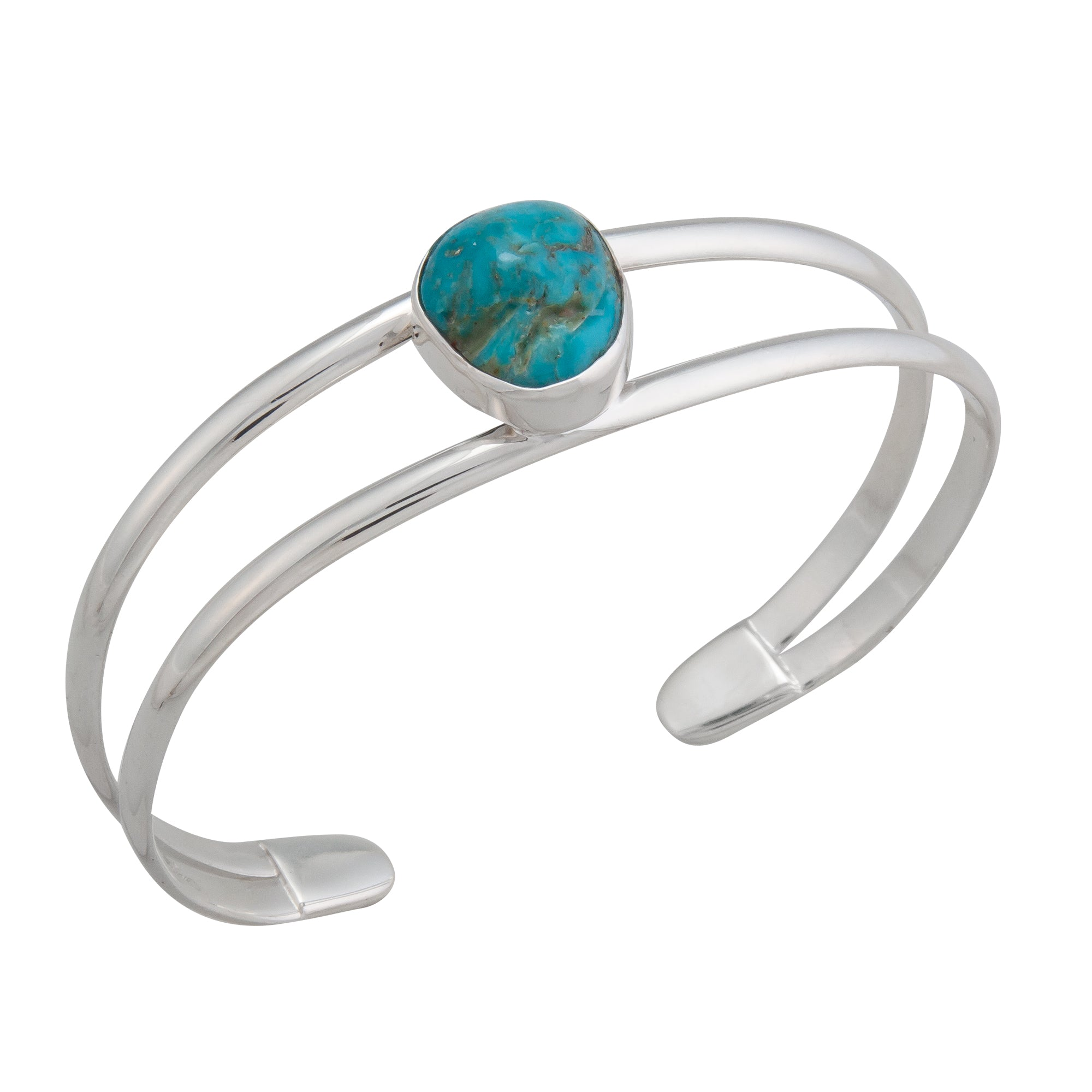 Sterling Silver Turquoise 2-Band Cuff | Charles Albert Jewelry