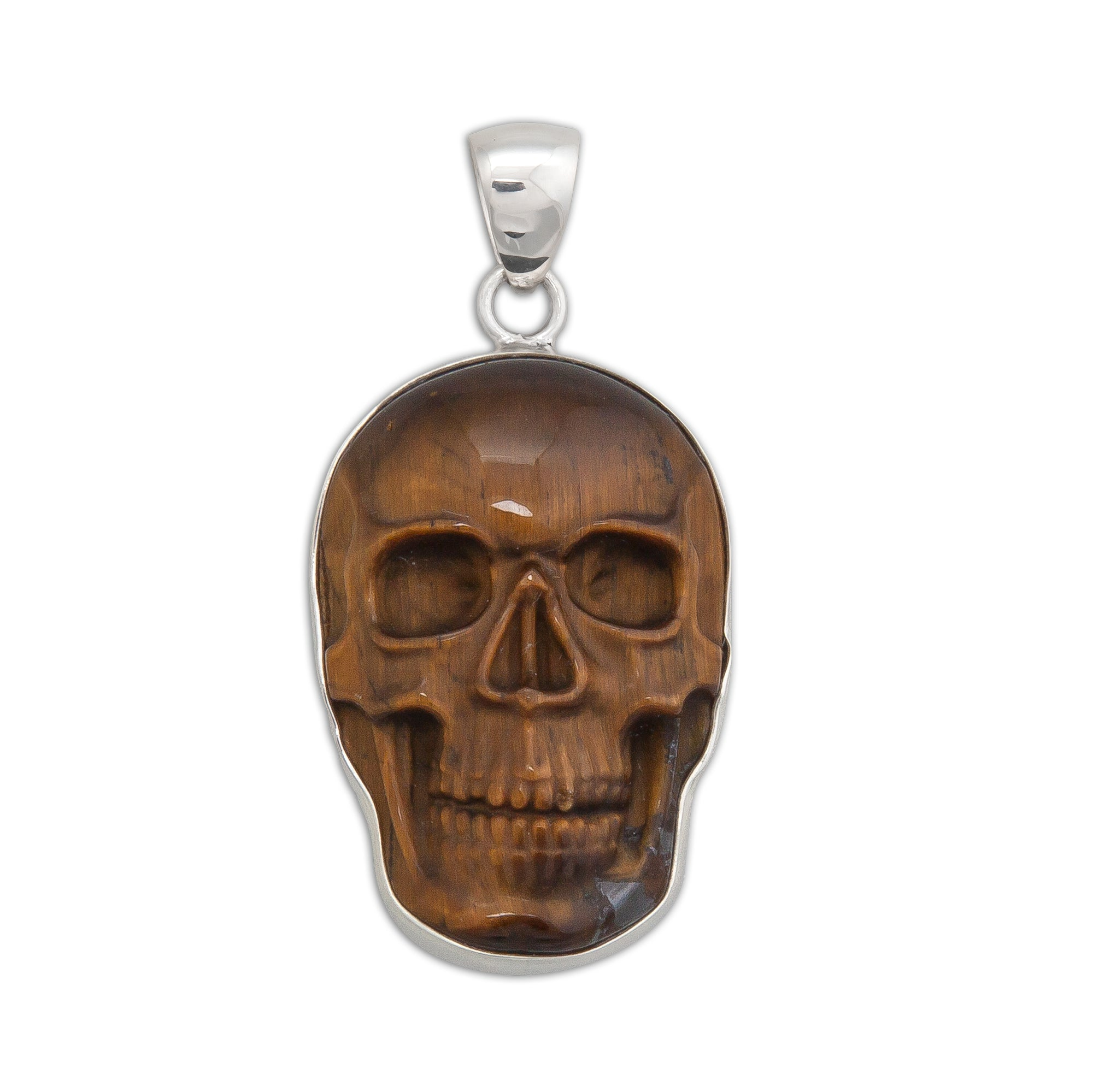 Sterling Silver Medium Tiger Eye Skull Pendant | Charles Albert Jewelry