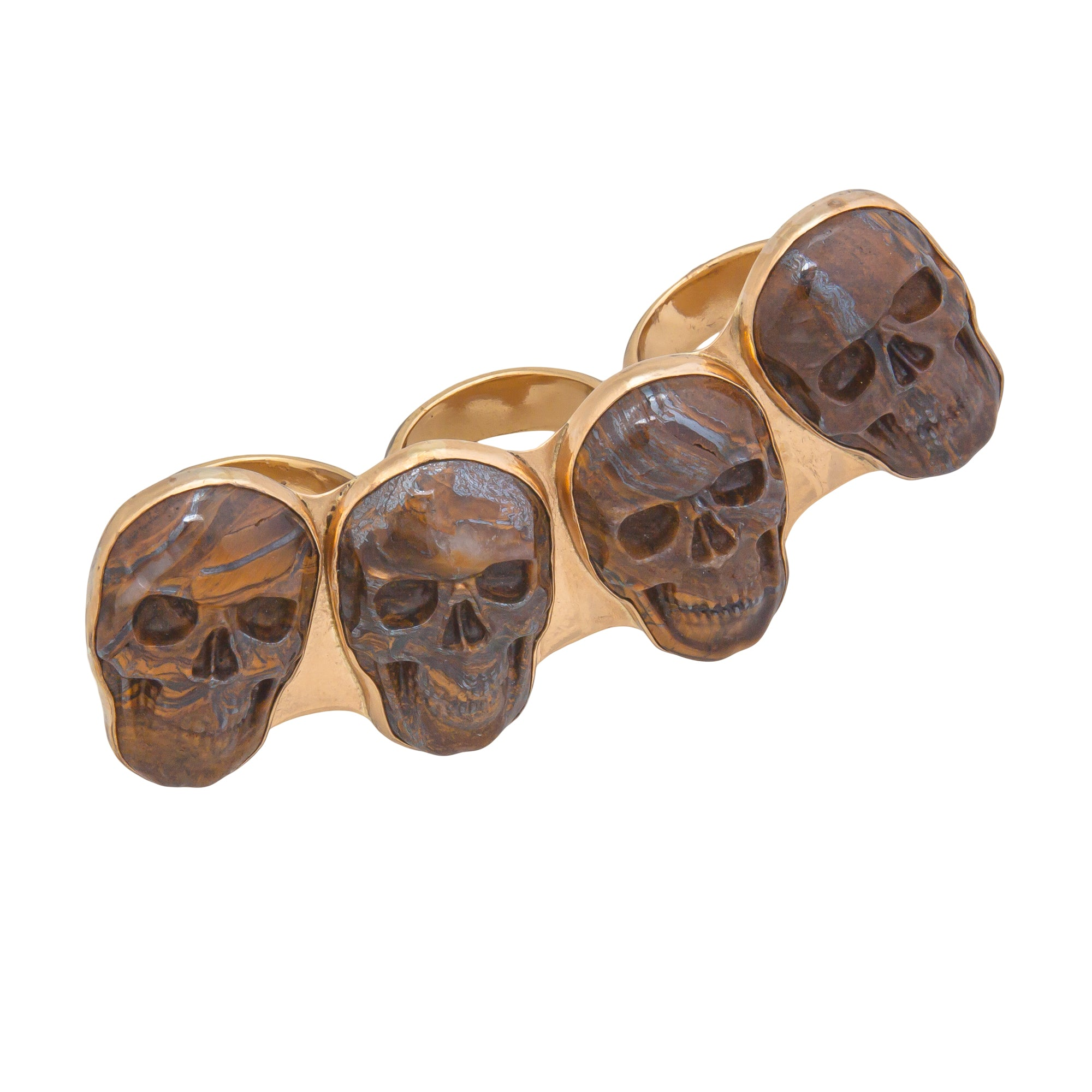 Alchemia Tiger Eye Skull Knuckle Ring - Adjustable | Charles Albert Jewelry