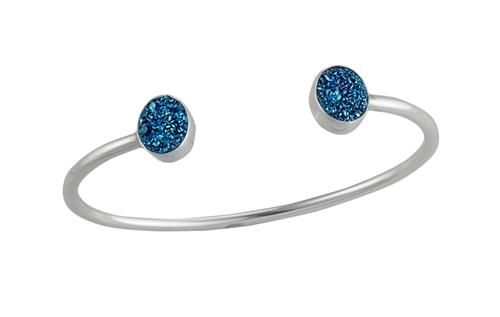 Sterling Silver Cobalt Druse Cuff | Charles Albert Jewelry