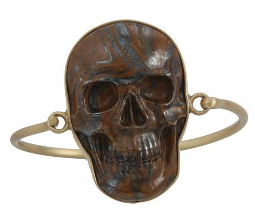 alchemia-tiger-eye-skull-bangle - 1 - Charles Albert Inc