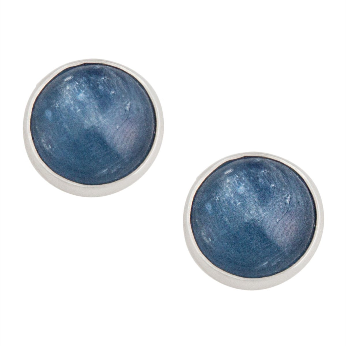 sterling-silver-kyanite-post-earrings-round - 1 - Charles Albert Inc