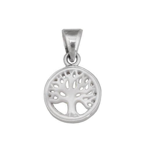 Sterling Silver 17mm Mother of Pearl Tree of Life Pendant | Charles Albert Jewelry