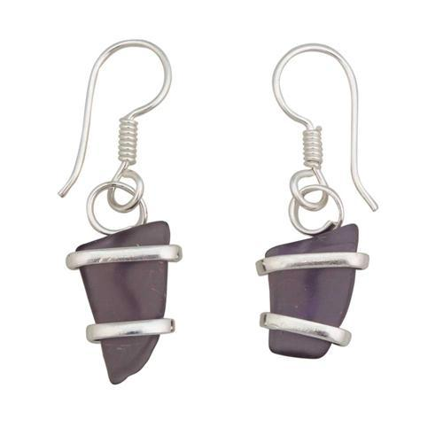 Alpaca Recycled Glass Freeform Earrings - Purple
