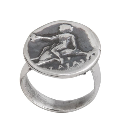 sterling-silver-boy-on-dolphin-greek-coin-ring - 2 - Charles Albert Inc