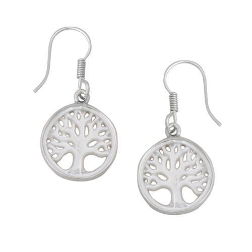 Sterling Silver Mother of Pearl Tree of Life Drop Earrings | Charles Albert Jewelry