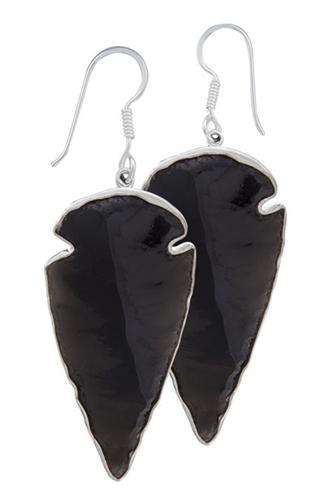 Sterling Silver Obsidian Arrowhead Earrings