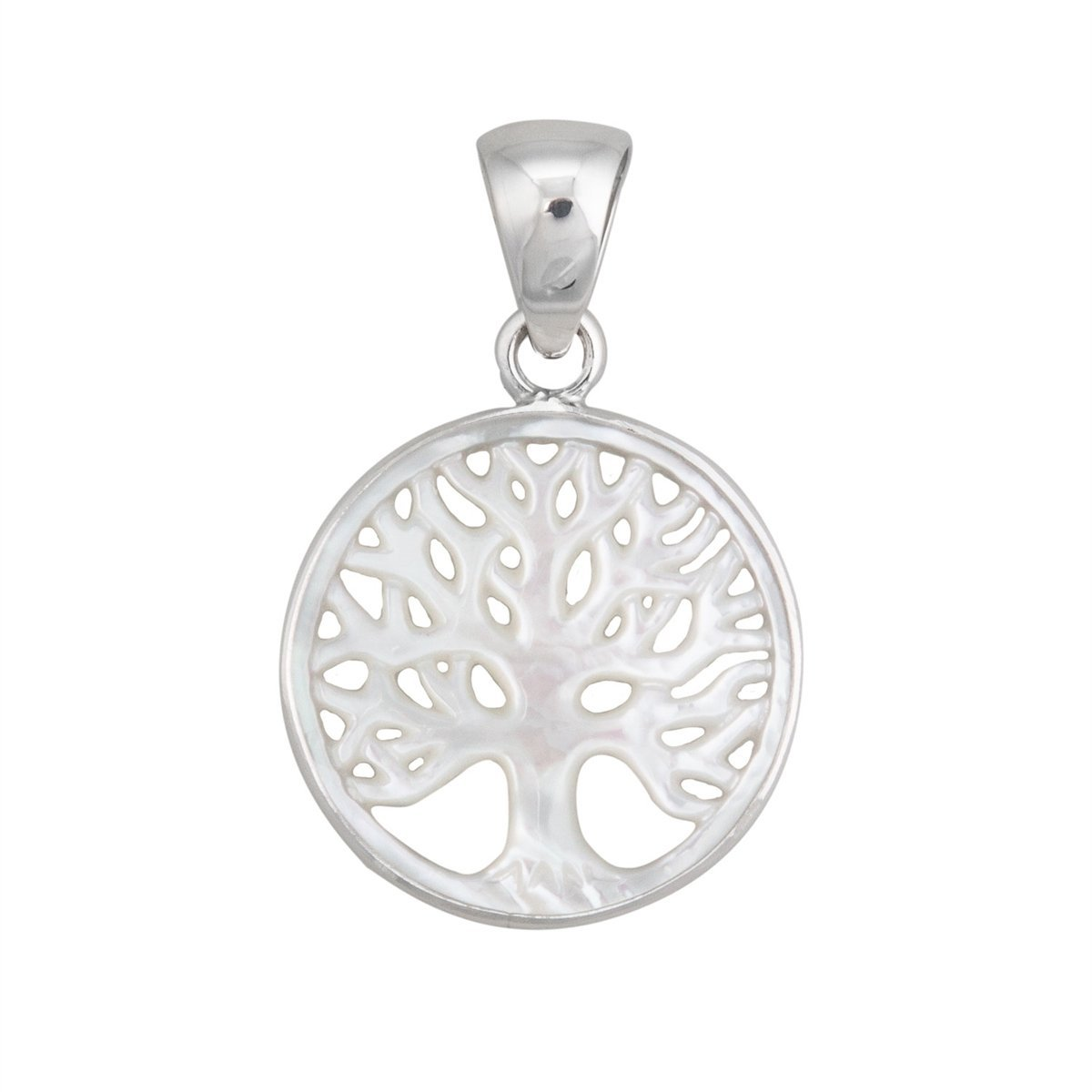 Sterling Silver 25mm Mother of Pearl Tree of Life Pendant | Charles Albert Jewelry