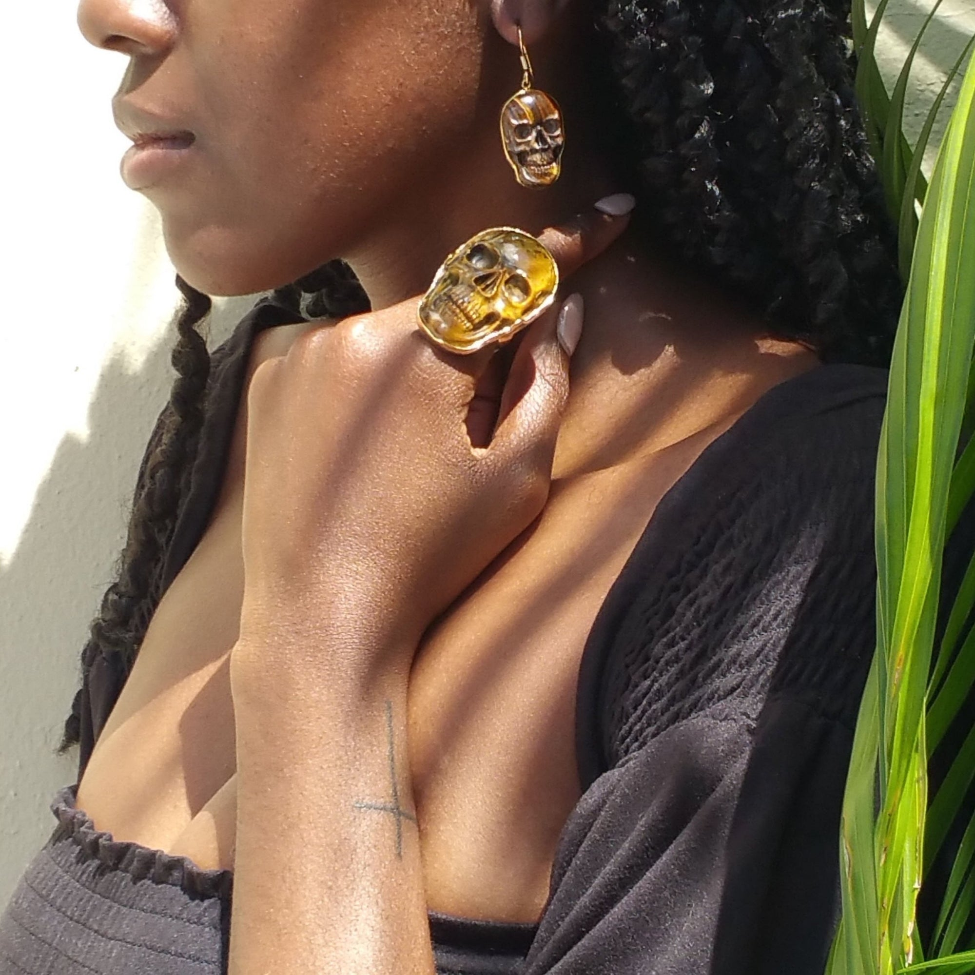 Alchemia Tiger Eye Skull Adjustable Ring - Large | Charles Albert Jewelry