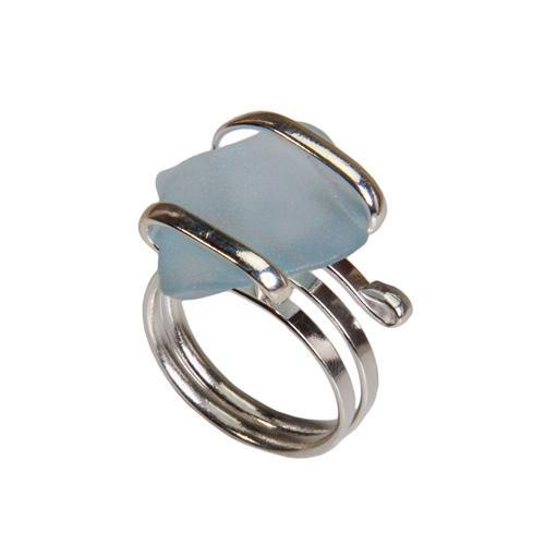 Alpaca Recycled Glass Freeform Rings - Seafoam Blue | Charles Albert Jewelry