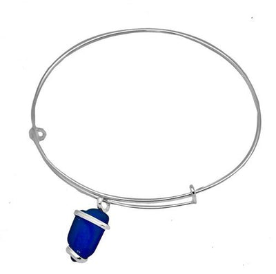 alpaca-recycled-glass-freeform-adjustable-charm-bangle-cobalt-blue - 2 - Charles Albert Inc