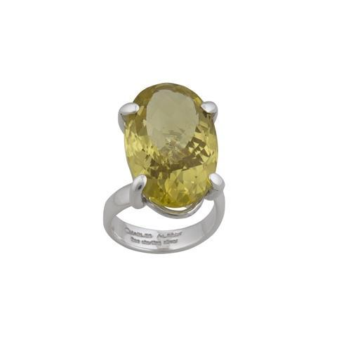 sterling-silver-citrine-prong-set-adjustable-ring - 1 - Charles Albert Inc